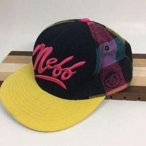 Neff Yellow Pink Black Flannel Snapback Hat OS